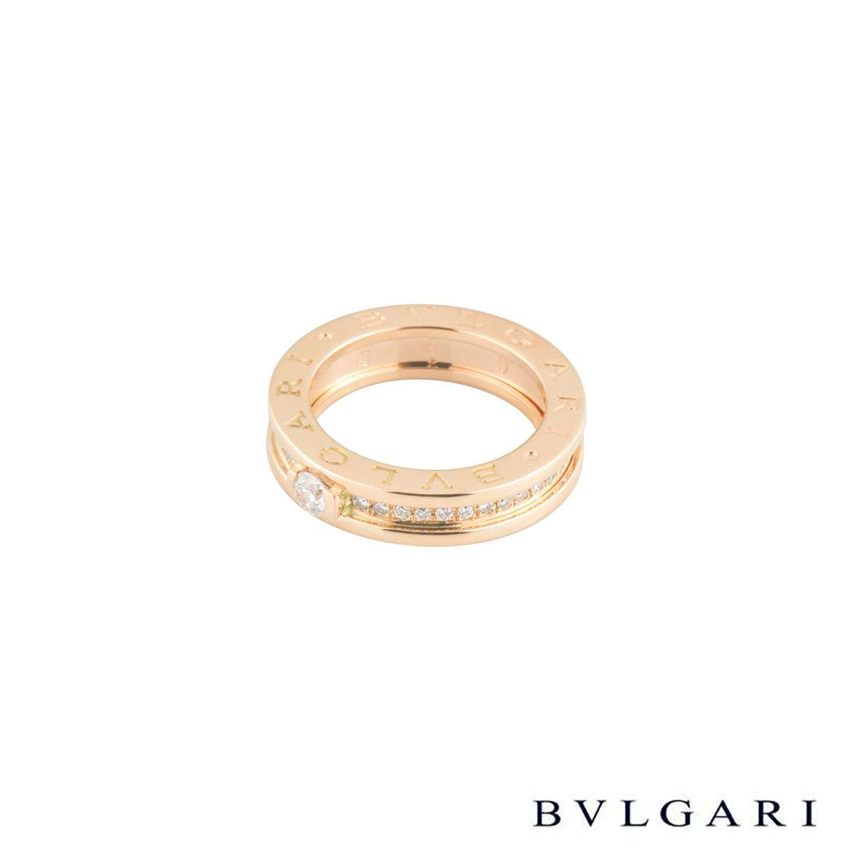 Bvlgari Rose Gold Diamond B.Zero1 Ring Size 50